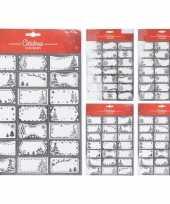 63x kerstcadeautjes naamstickers naam etiketten zilver