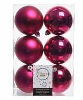 6x fuchsia roze kerstballen van kunststof 8 cm