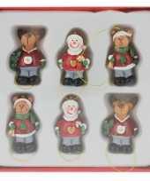6x houten kersthangers figuurtjes 4 cm type 2