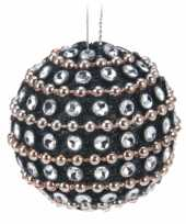 6x kerstballen met steentjes 3 5 cm