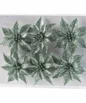 6x kerstversieringen glitter kerstrozen mintgroen op clip