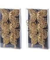 6x kerstversieringen vlinders op clip glitter goud 11 cm