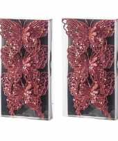 6x kerstversieringen vlinders op clip glitter rood 11 cm