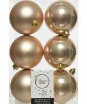 6x kunststof kerstballen glanzend mat donker parel champagne 8 cm kerstboom versiering decoratie