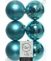 6x kunststof kerstballen glanzend mat turquoise blauw 8 cm kerstboom versiering decoratie