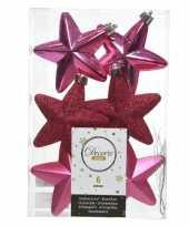 6x kunststof sterren kerstballen glans mat glitter fuchsia roze 7 cm kerstboom versiering decoratie