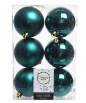 6x smaragd groen kerstballen van kunststof 8 cm
