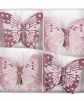 8x kerstversiering vlinders op clip roze 8 cm