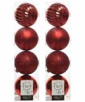 8x kunststof kerstballen mix kerstrood 10 cm kerstboom versiering decoratie