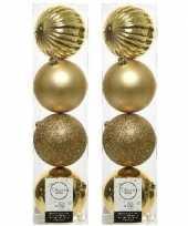 8x kunststof kerstballen mix licht goud 10 cm kerstboom versiering decoratie