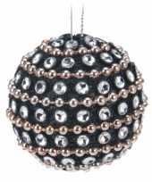 9x kerstballen met steentjes 3 5 cm