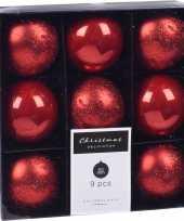 9x kerstboomversiering luxe kunststof kerstballen rood 5 cm