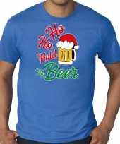 Blauw kerst-shirt kerstkleding ho ho hold my beer voor heren grote maten