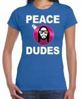 Blauw kerstshirt kerstkleding peace dudes voor dames met social media kerstbal
