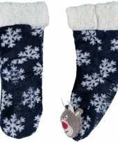Blauwe warm gevoerde rendier kerstsokken voor kinderen