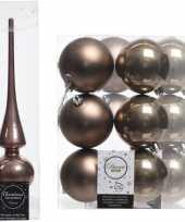 Bruine kerstversiering kerstdecoratie set piek en 12x kerstballen 8 cm glans mat
