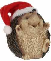 Dierenbeeldjes egel met kerstmuts kerstdecoraties 9 cm