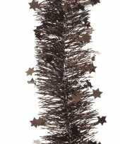Donker bruine kerstboom folie slinger met ster 270 cm