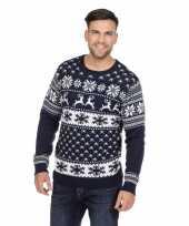 Donkerblauwe kerst sweater met rendieren voor heren