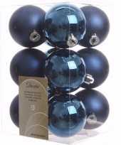 Elegant christmas kerstboom decoratie kerstballen blauw 12 stuks