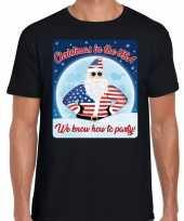 Fout amerika kerstborrel t shirt christmas in usa zwart voor heren
