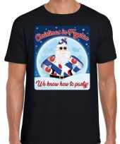 Fout friesland kerstborrel t shirt christmas in fryslan zwart voor heren