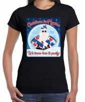 Fout kerstborrel friesland t shirt christmas in fryslan zwart voor dames