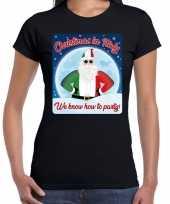 Fout kerstborrel italie t shirt christmas in italy zwart voor dames