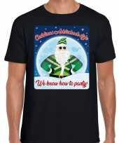 Fout kerstborrel t shirt christmas in achterhoek style zwart voor heren