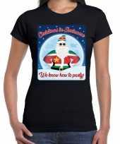 Fout kerstborrel t shirt christmas in suriname zwart voor dames