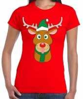 Foute kerst t-shirt rood met ruldolf het rendier met groene muts voor dames