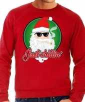 Foute kerstborrel trui kersttrui just chillin rood voor heren