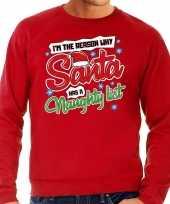 Foute kerstborrel trui kersttrui kerstman stoute ondeugende lijst rood voor heren