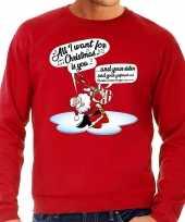 Foute kerstborrel trui kersttrui met zingende kerstman en gitaar rood voor heren