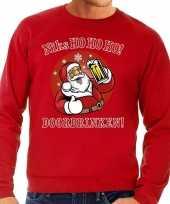 Foute kerstborrel trui kersttrui zuipende kerstman niks ho ho ho doordrinken rood rode tekst voor heren