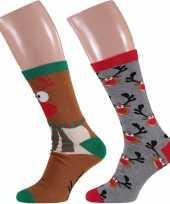 Foute rendier kerstsokken 2 paar voor heren