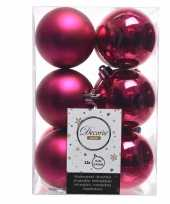 Fuchsia kerstballen van kunststof 6 cm 10127730