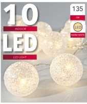 Glitter balletjes lichtsnoer warm wit 135 cm kerstverlichting