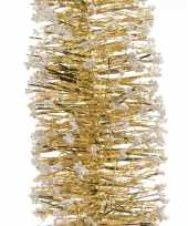 Gouden kerstboom folie slinger met sneeuw 200 cm