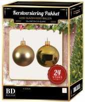Gouden kerstversiering kerstballen 24 delig 6 cm