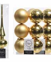 Gouden kerstversiering kerstdecoratie set piek en 12x kerstballen 8 cm glans mat