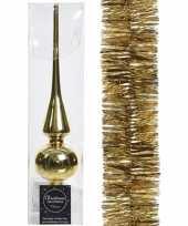 Gouden kerstversiering kerstdecoratie set piek en folie slinger 270 cm