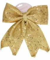 Gouden strik voor in de kerstboom 34 cm