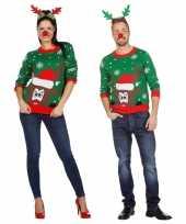 Groene kerst sweater met rendier voor volwassenen