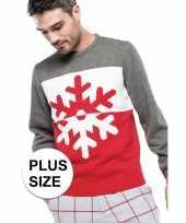 Grote maat grijs rode foute lelijke gebreide kersttrui met sneeuwvlok print voor heren volwassenen