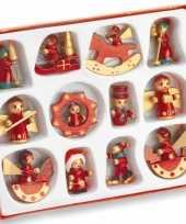 Houten kerst versiering 12 stuks