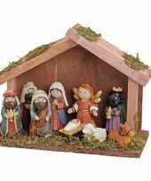 Houten kerststallen met 9 beeldjes voor kinderen kerstdecoraties