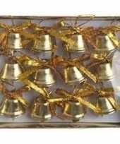 Ijzeren kerstboom belletjes goud 12 stuks