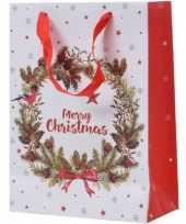 Kerst cadeau tas 72 cm krans met vogel