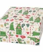 Kerst cadeaupapier wit rode groene kerstbomen en wanten 70 x 200 cm